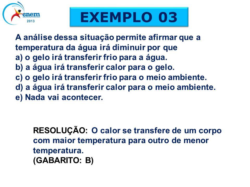 EXEMPLO 03 RESOLUÇÃO: O calor se transfere de um corpo com maior temperatura para outro de menor temperatura. (GABARITO: B) A análise dessa situação p