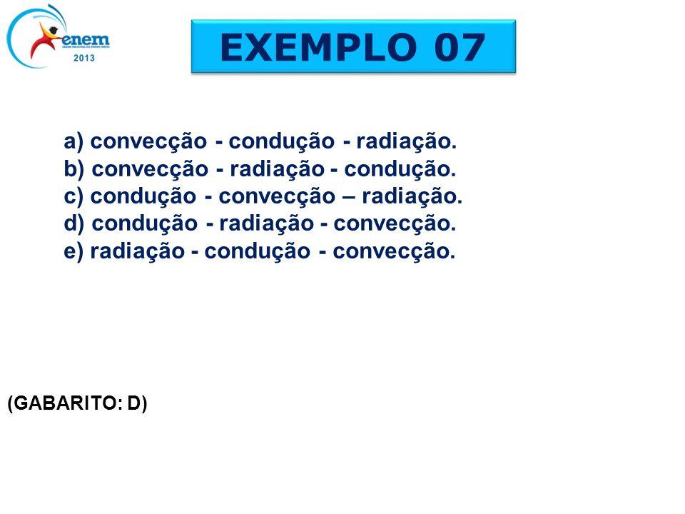 EXEMPLO 07 (GABARITO: D) a) convecção - condução - radiação. b) convecção - radiação - condução. c) condução - convecção – radiação. d) condução - rad