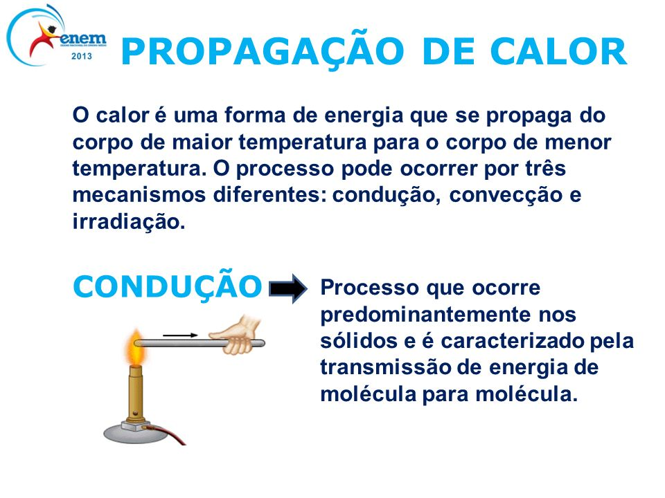 PROPAGAÇÃO DE CALOR O calor é uma forma de energia que se propaga do corpo de maior temperatura para o corpo de menor temperatura. O processo pode oco