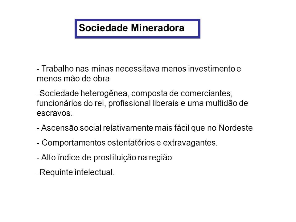 Sociedade Mineradora - Trabalho nas minas necessitava menos investimento e menos mão de obra -Sociedade heterogênea, composta de comerciantes, funcion