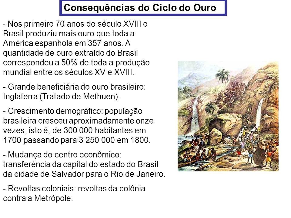 Consequências do Ciclo do Ouro - Nos primeiro 70 anos do século XVIII o Brasil produziu mais ouro que toda a América espanhola em 357 anos. A quantida