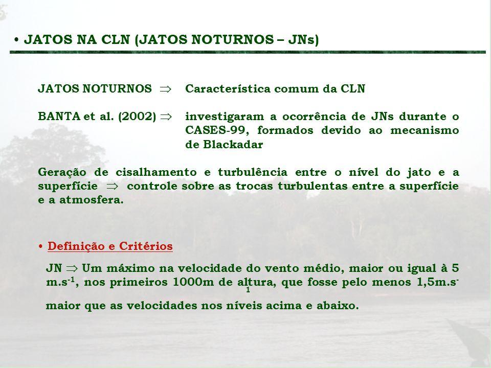JATOS NA CLN (JATOS NOTURNOS – JNs) JATOS NOTURNOS Característica comum da CLN BANTA et al. (2002) investigaram a ocorrência de JNs durante o CASES-99