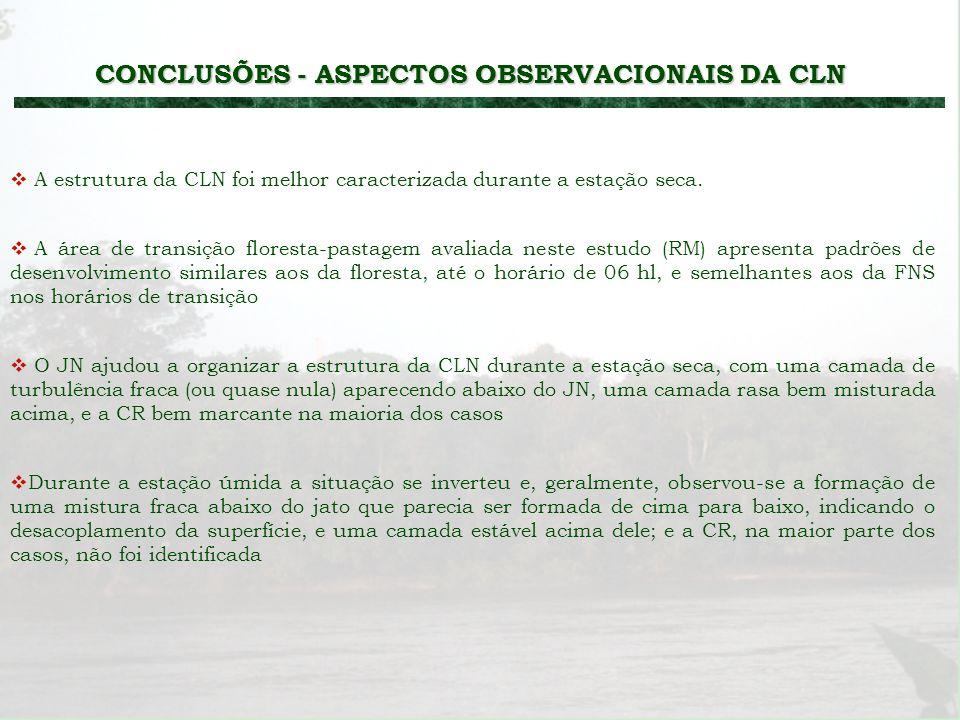 CONCLUSÕES - ASPECTOS OBSERVACIONAIS DA CLN A área de transição floresta-pastagem avaliada neste estudo (RM) apresenta padrões de desenvolvimento simi