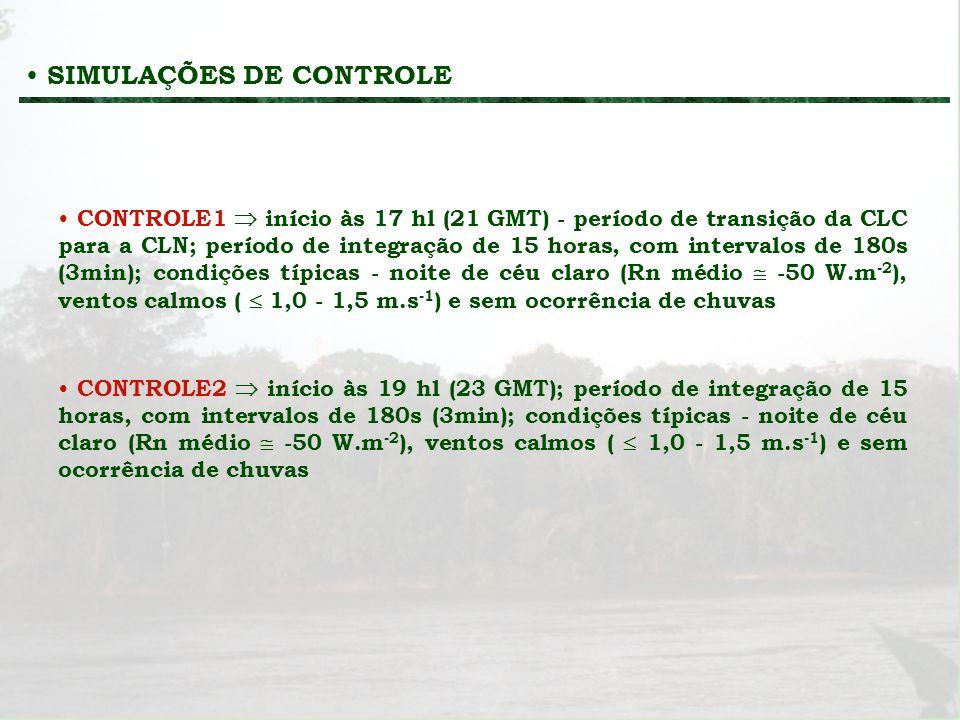 CONTROLE1 início às 17 hl (21 GMT) - período de transição da CLC para a CLN; período de integração de 15 horas, com intervalos de 180s (3min); condiçõ