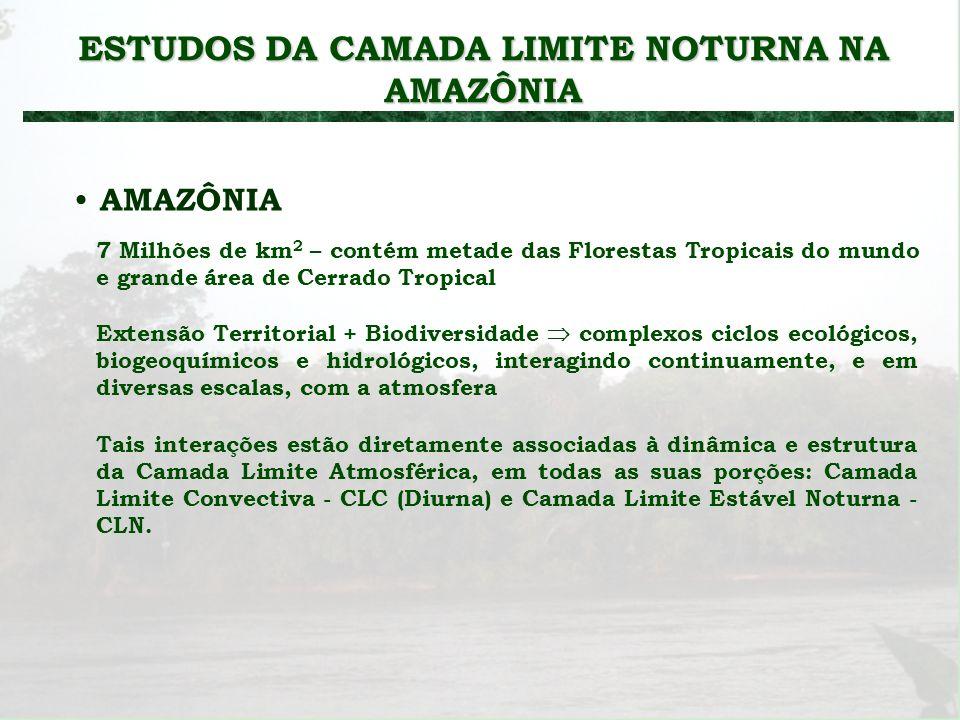 ESTUDOS DA CAMADA LIMITE NOTURNA NA AMAZÔNIA AMAZÔNIA 7 Milhões de km 2 – contém metade das Florestas Tropicais do mundo e grande área de Cerrado Trop