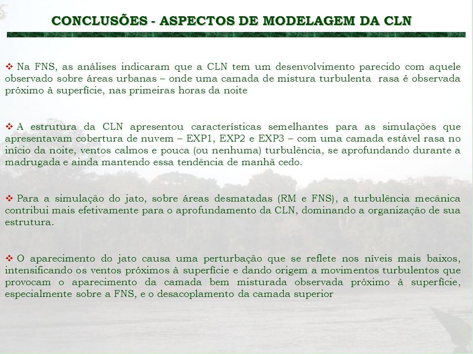 CONCLUSÕES - ASPECTOS DE MODELAGEM DA CLN A estrutura da CLN apresentou características semelhantes para as simulações que apresentavam cobertura de n