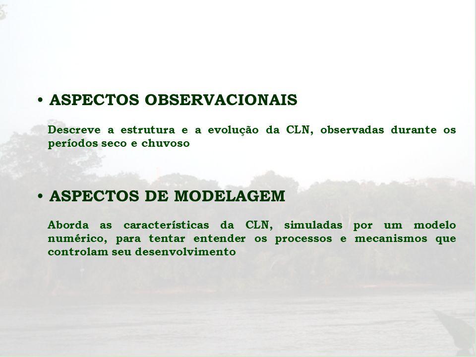 ASPECTOS OBSERVACIONAIS Descreve a estrutura e a evolução da CLN, observadas durante os períodos seco e chuvoso ASPECTOS DE MODELAGEM Aborda as caract