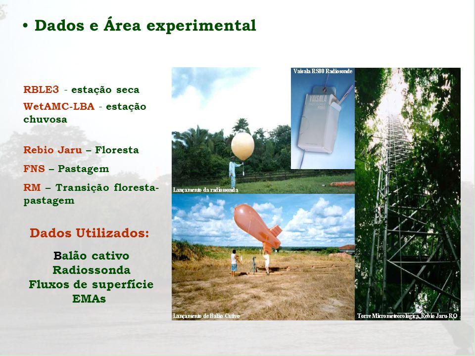 Dados e Área experimental Dados Utilizados: Balão cativo Radiossonda Fluxos de superfície EMAs RBLE3 - estação seca WetAMC-LBA - estação chuvosa Rebio