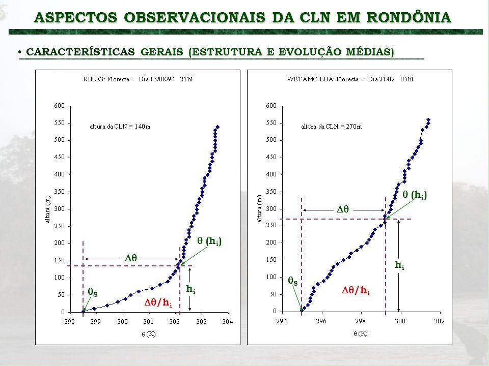 ASPECTOS OBSERVACIONAIS DA CLN EM RONDÔNIA CARACTERÍSTICAS GERAIS (ESTRUTURA E EVOLUÇÃO MÉDIAS) hihi hihi (h i ) S S /h i