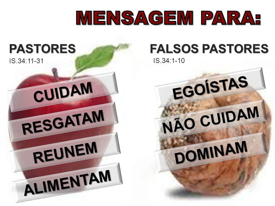 FALSOS PASTORES PASTORES IS.34:1-10 IS.34:11-31 EGOÍSTAS NÃO CUIDAM DOMINAM CUIDAM RESGATAM REUNEM ALIMENTAM