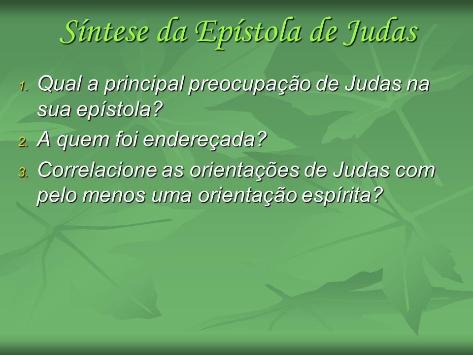 1. Qual a principal preocupação de Judas na sua epístola? 2. A quem foi endereçada? 3. Correlacione as orientações de Judas com pelo menos uma orienta