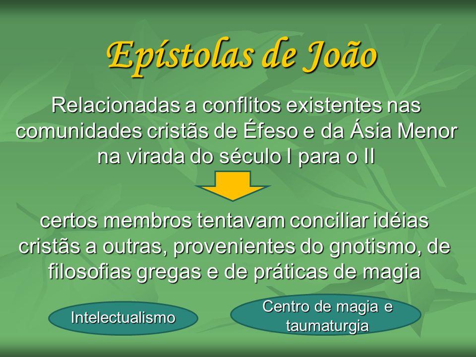 Epístolas de João Relacionadas a conflitos existentes nas comunidades cristãs de Éfeso e da Ásia Menor na virada do século I para o II certos membros