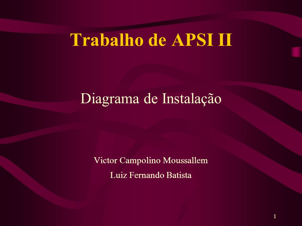 1 Trabalho de APSI II Diagrama de Instalação Victor Campolino Moussallem Luiz Fernando Batista