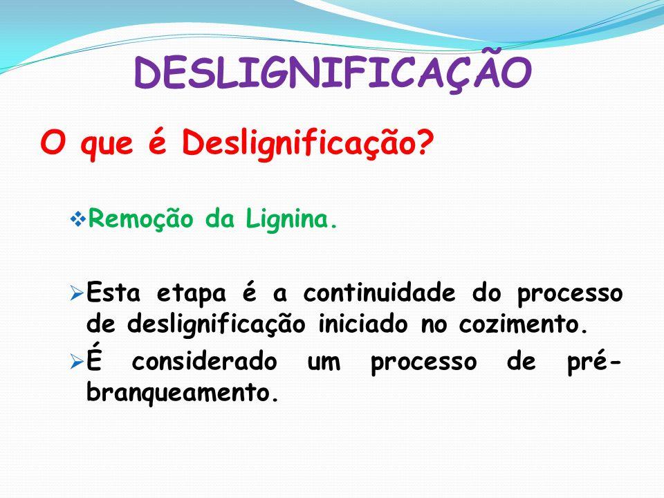 DESLIGNIFICAÇÃO O que é Deslignificação? Remoção da Lignina. Esta etapa é a continuidade do processo de deslignificação iniciado no cozimento. É consi