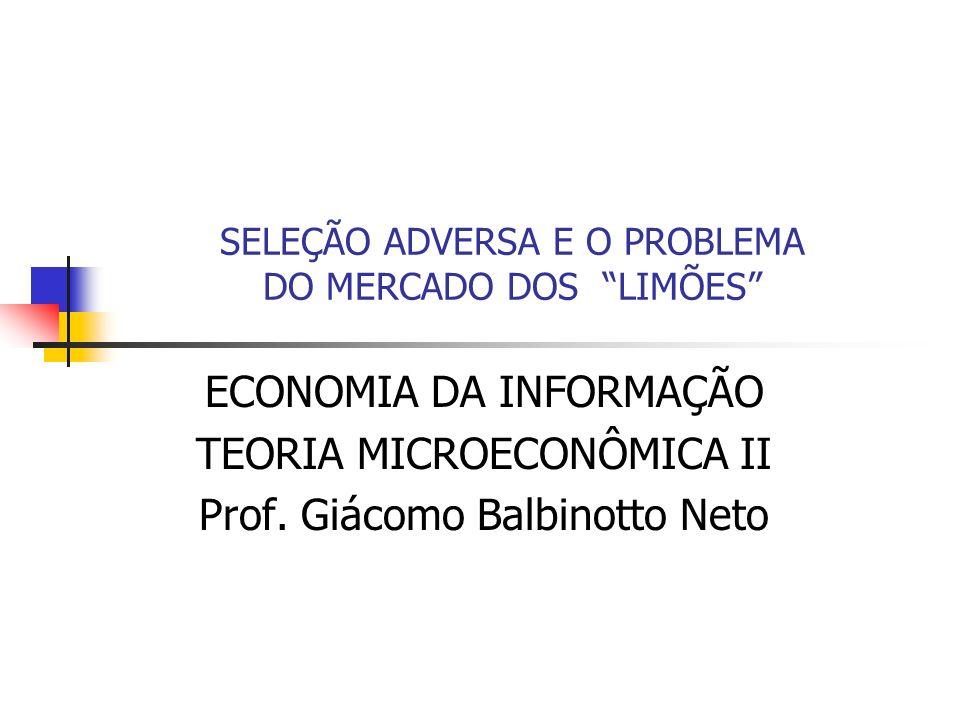 SELEÇÃO ADVERSA E O PROBLEMA DO MERCADO DOS LIMÕES ECONOMIA DA INFORMAÇÃO TEORIA MICROECONÔMICA II Prof. Giácomo Balbinotto Neto