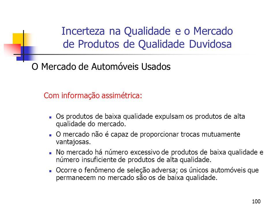 100 O Mercado de Automóveis Usados Com informação assimétrica: Os produtos de baixa qualidade expulsam os produtos de alta qualidade do mercado. O mer