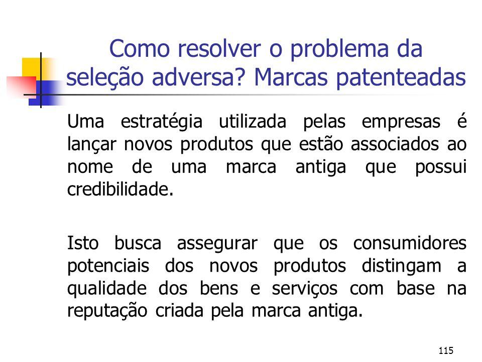 115 Como resolver o problema da seleção adversa? Marcas patenteadas Uma estratégia utilizada pelas empresas é lançar novos produtos que estão associad