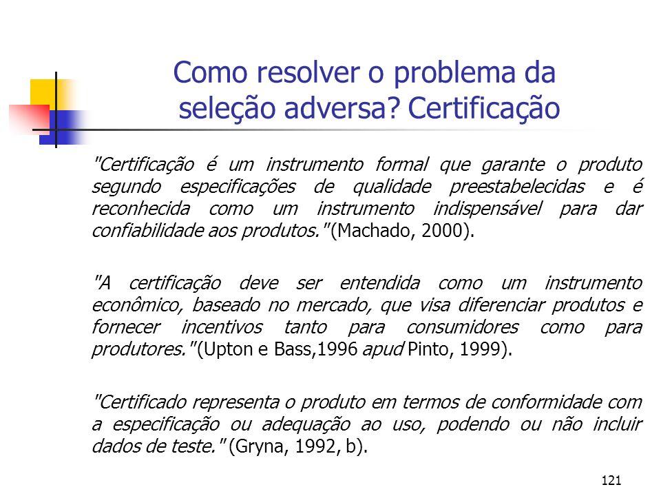 121 Como resolver o problema da seleção adversa? Certificação