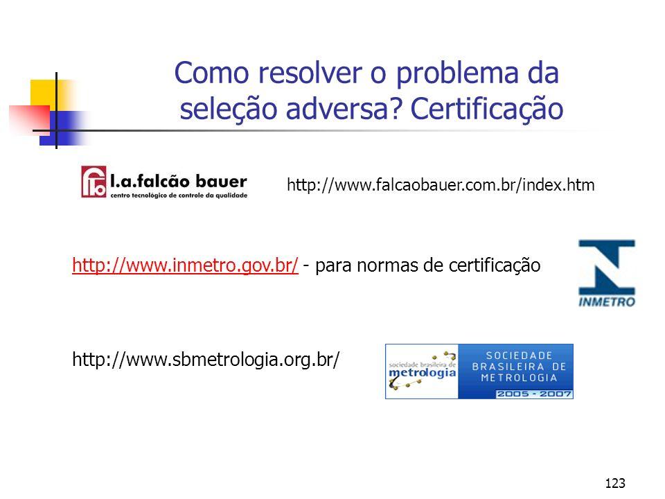 123 Como resolver o problema da seleção adversa? Certificação http://www.falcaobauer.com.br/index.htm http://www.inmetro.gov.br/http://www.inmetro.gov