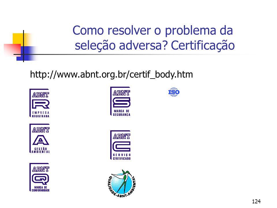 124 Como resolver o problema da seleção adversa? Certificação http://www.abnt.org.br/certif_body.htm