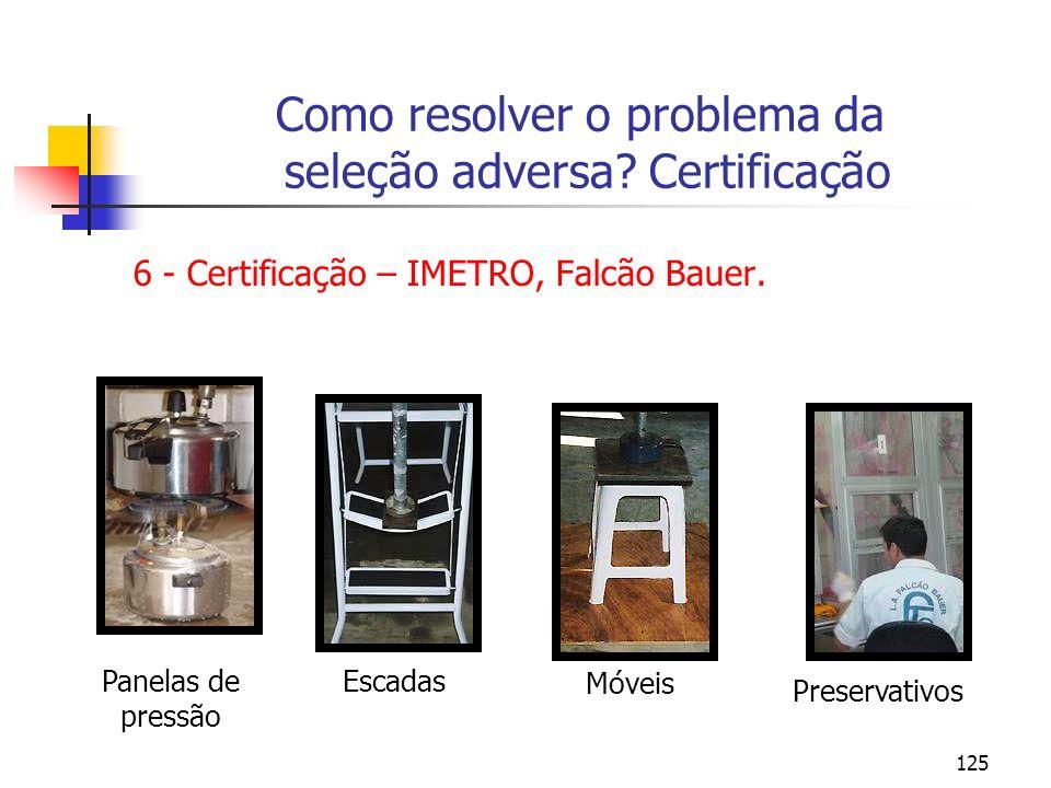 125 Como resolver o problema da seleção adversa? Certificação 6 - Certificação – IMETRO, Falcão Bauer. Panelas de pressão Escadas Móveis Preservativos