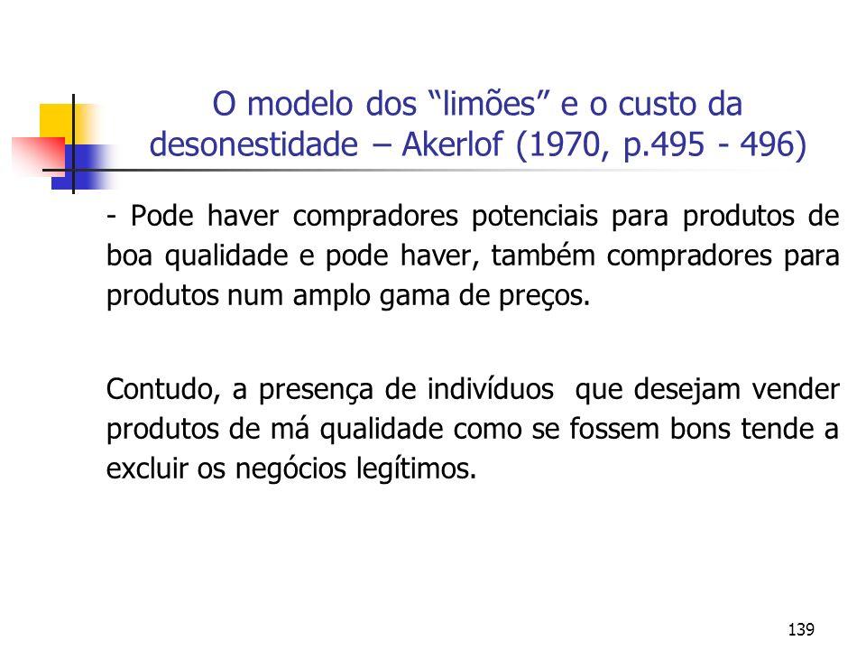139 O modelo dos limões e o custo da desonestidade – Akerlof (1970, p.495 - 496) - Pode haver compradores potenciais para produtos de boa qualidade e
