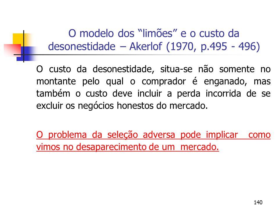 140 O modelo dos limões e o custo da desonestidade – Akerlof (1970, p.495 - 496) O custo da desonestidade, situa-se não somente no montante pelo qual