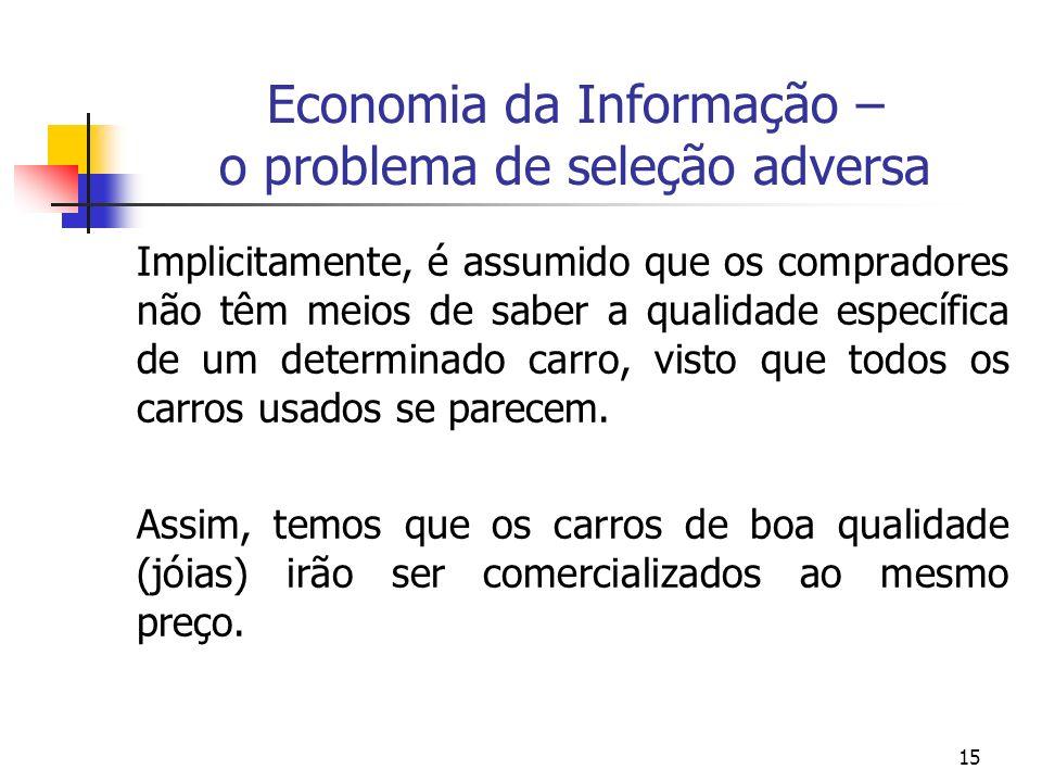 15 Economia da Informação – o problema de seleção adversa Implicitamente, é assumido que os compradores não têm meios de saber a qualidade específica