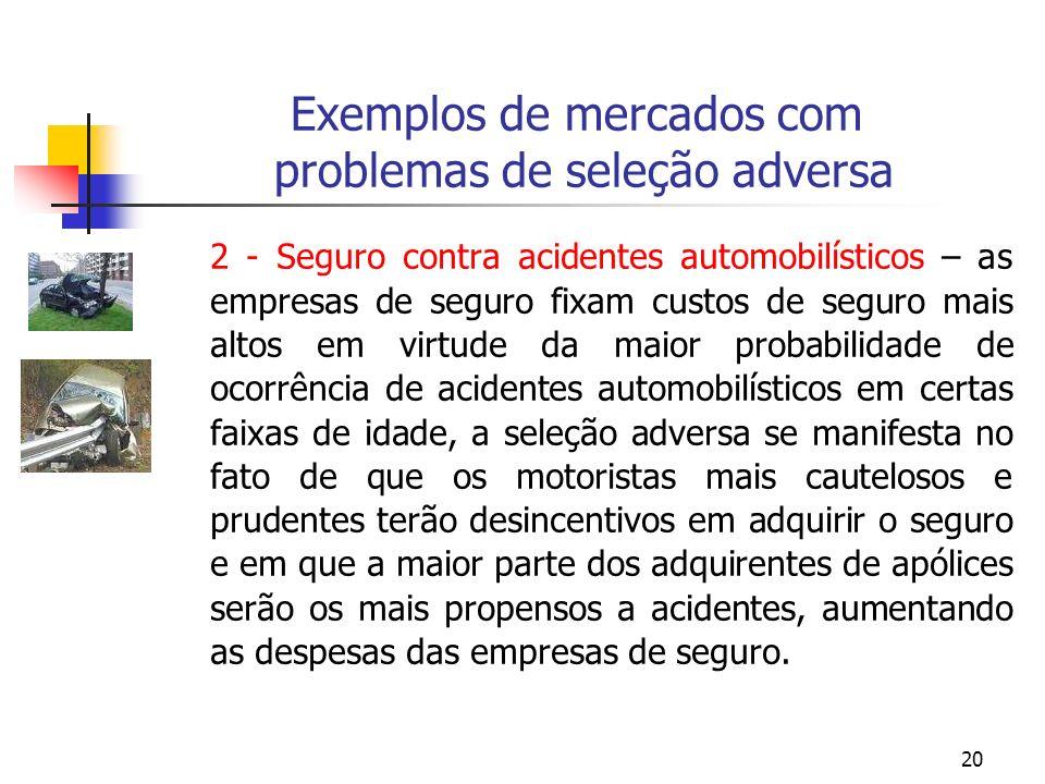 20 Exemplos de mercados com problemas de seleção adversa 2 - Seguro contra acidentes automobilísticos – as empresas de seguro fixam custos de seguro m