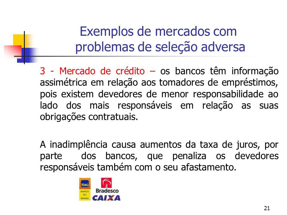 21 Exemplos de mercados com problemas de seleção adversa 3 - Mercado de crédito – os bancos têm informação assimétrica em relação aos tomadores de emp