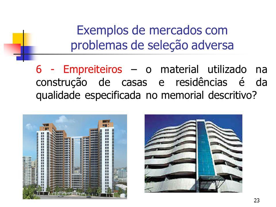 23 Exemplos de mercados com problemas de seleção adversa 6 - Empreiteiros – o material utilizado na construção de casas e residências é da qualidade e