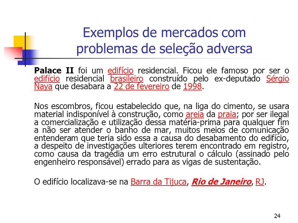 24 Exemplos de mercados com problemas de seleção adversa Palace II foi um edifício residencial. Ficou ele famoso por ser o edifício residencial brasil