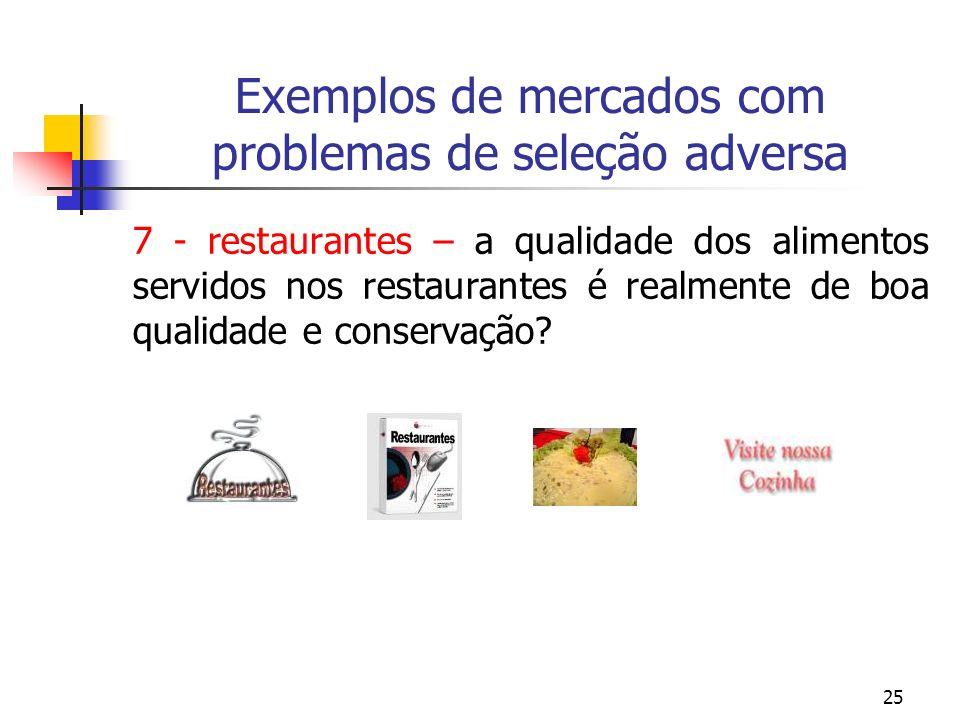 25 Exemplos de mercados com problemas de seleção adversa 7 - restaurantes – a qualidade dos alimentos servidos nos restaurantes é realmente de boa qua