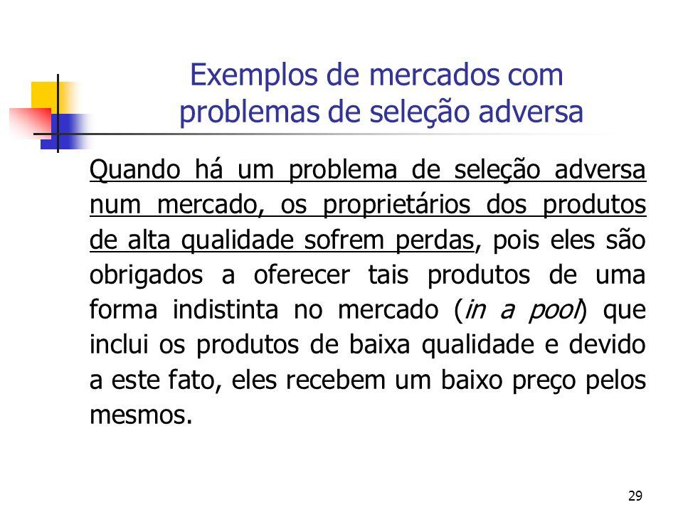 29 Exemplos de mercados com problemas de seleção adversa Quando há um problema de seleção adversa num mercado, os proprietários dos produtos de alta q