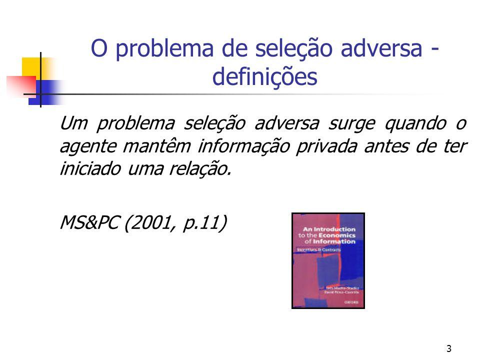 3 O problema de seleção adversa - definições Um problema seleção adversa surge quando o agente mantêm informação privada antes de ter iniciado uma rel