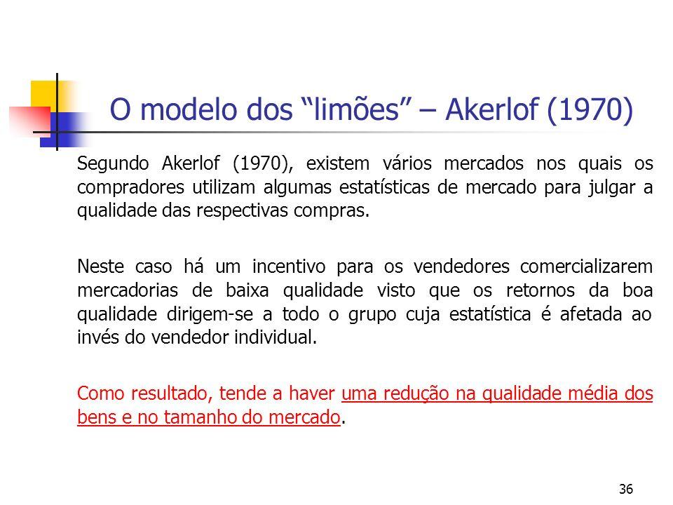 36 O modelo dos limões – Akerlof (1970) Segundo Akerlof (1970), existem vários mercados nos quais os compradores utilizam algumas estatísticas de merc