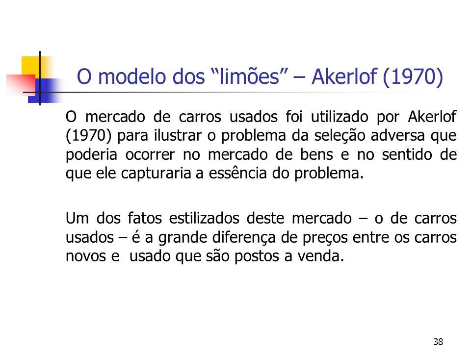 38 O modelo dos limões – Akerlof (1970) O mercado de carros usados foi utilizado por Akerlof (1970) para ilustrar o problema da seleção adversa que po