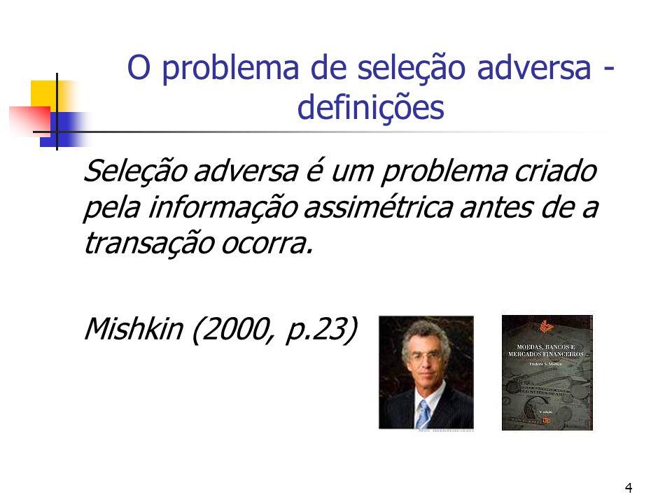 4 O problema de seleção adversa - definições Seleção adversa é um problema criado pela informação assimétrica antes de a transação ocorra. Mishkin (20