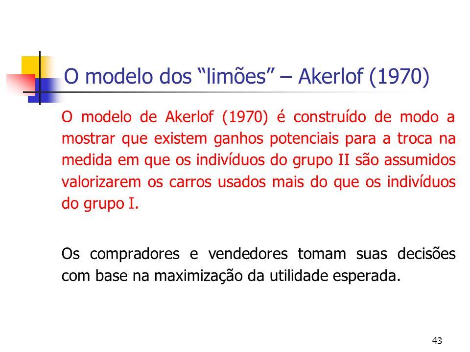 43 O modelo dos limões – Akerlof (1970) O modelo de Akerlof (1970) é construído de modo a mostrar que existem ganhos potenciais para a troca na medida