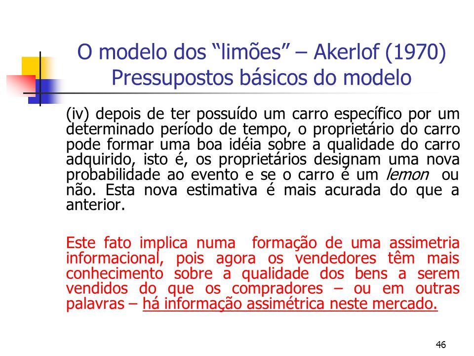 46 O modelo dos limões – Akerlof (1970) Pressupostos básicos do modelo (iv) depois de ter possuído um carro específico por um determinado período de t