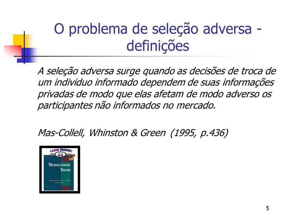 5 O problema de seleção adversa - definições A seleção adversa surge quando as decisões de troca de um individuo informado dependem de suas informaçõe
