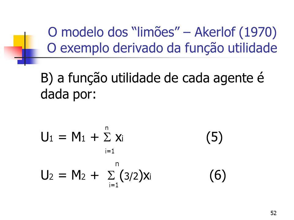 52 O modelo dos limões – Akerlof (1970) O exemplo derivado da função utilidade B) a função utilidade de cada agente é dada por: n U 1 = M 1 + x i (5)