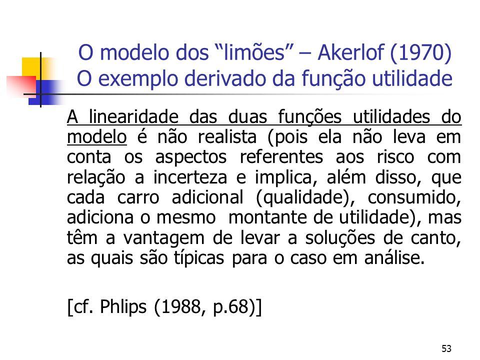 53 O modelo dos limões – Akerlof (1970) O exemplo derivado da função utilidade A linearidade das duas funções utilidades do modelo é não realista (poi