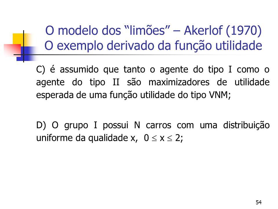 54 O modelo dos limões – Akerlof (1970) O exemplo derivado da função utilidade C) é assumido que tanto o agente do tipo I como o agente do tipo II são