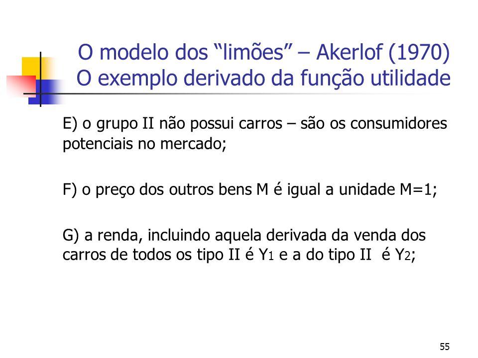 55 O modelo dos limões – Akerlof (1970) O exemplo derivado da função utilidade E) o grupo II não possui carros – são os consumidores potenciais no mer
