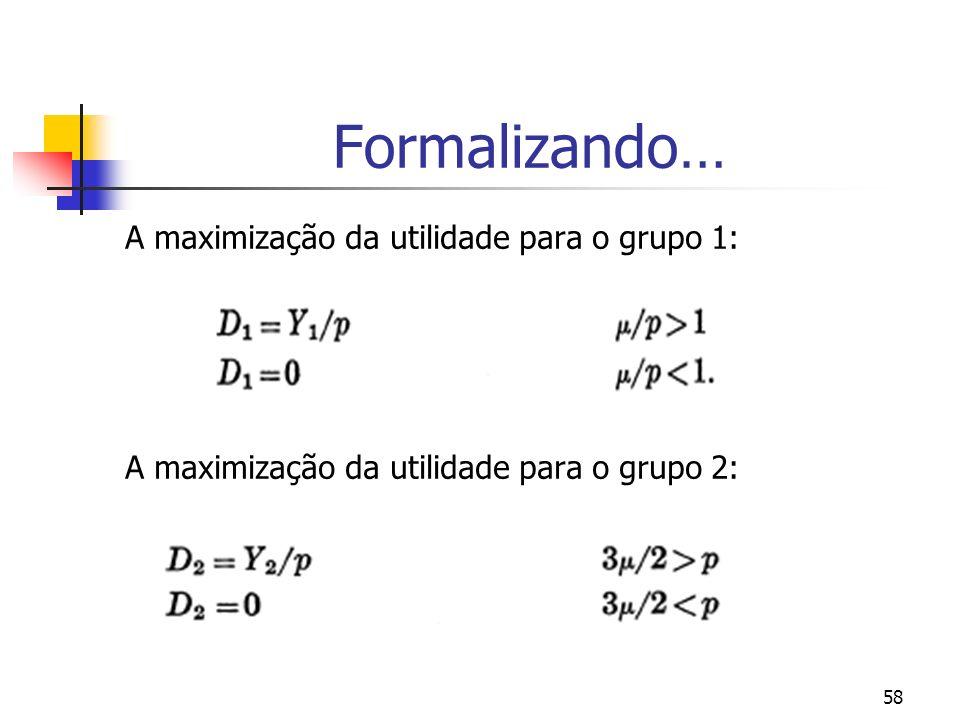 58 Formalizando… A maximização da utilidade para o grupo 1: A maximização da utilidade para o grupo 2: