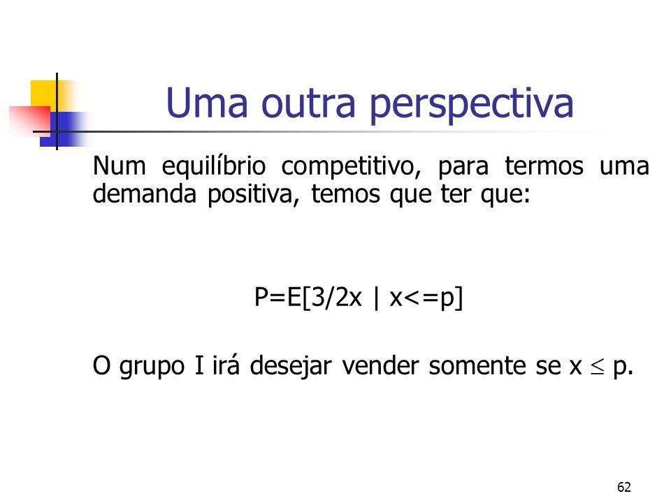 62 Uma outra perspectiva Num equilíbrio competitivo, para termos uma demanda positiva, temos que ter que: P=E[3/2x | x<=p] O grupo I irá desejar vende