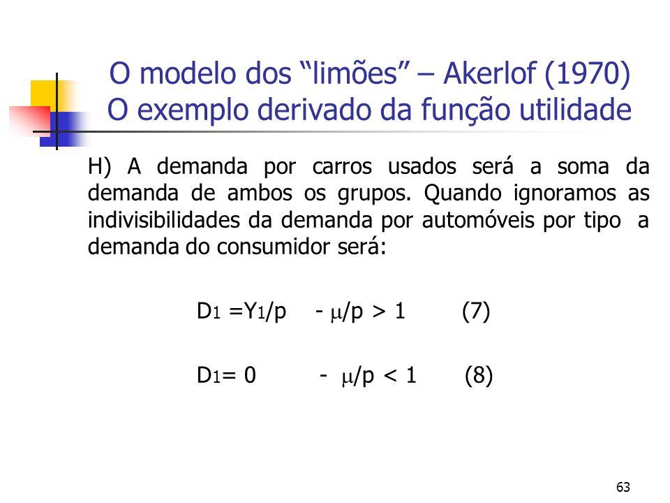 63 O modelo dos limões – Akerlof (1970) O exemplo derivado da função utilidade H) A demanda por carros usados será a soma da demanda de ambos os grupo