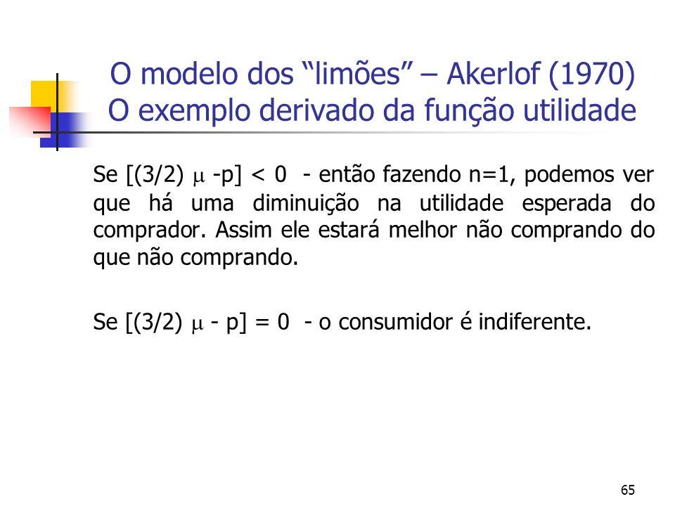 65 O modelo dos limões – Akerlof (1970) O exemplo derivado da função utilidade Se [(3/2) -p] < 0 - então fazendo n=1, podemos ver que há uma diminuiçã