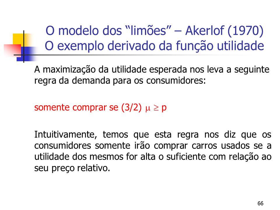 66 O modelo dos limões – Akerlof (1970) O exemplo derivado da função utilidade A maximização da utilidade esperada nos leva a seguinte regra da demand